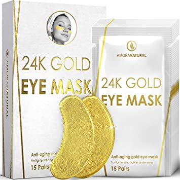 Amazon.com: Máscaras de ojo de oro de 24 K – 15 pares de ...