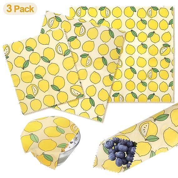 Envoltorios de Cera de Abeja, paquete de 3 envoltorios de cera de abejas ecológicas y reutilizables, lavables, sin nada de plástico, para ...