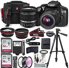 Canon EOS Rebel T6 EF-S 18-55 IS II Kit + 48GB SD + 18pcs Accessory Bundle