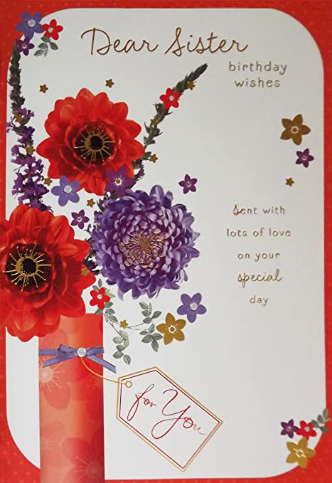 Red Purple Dear Sister Birthday Wishes Birthday Greetings Card