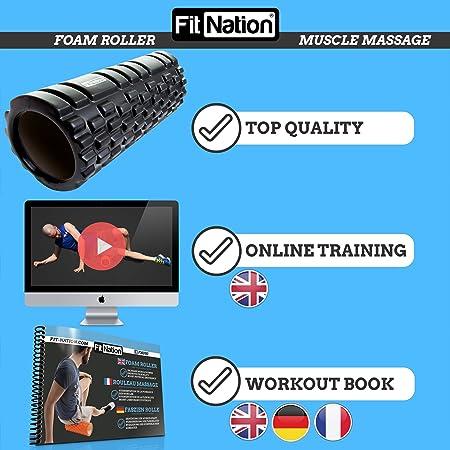 Rodillo de espuma para masaje muscular (Libro de ejercicios incluido) diseño de rejilla para accionar la terapia de puntos para el dolor de espalda y los músculos de las piernas - 33