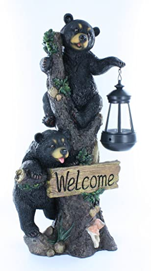 Amazoncom Large Black Bears Welcome Sign Statue with Solar LED