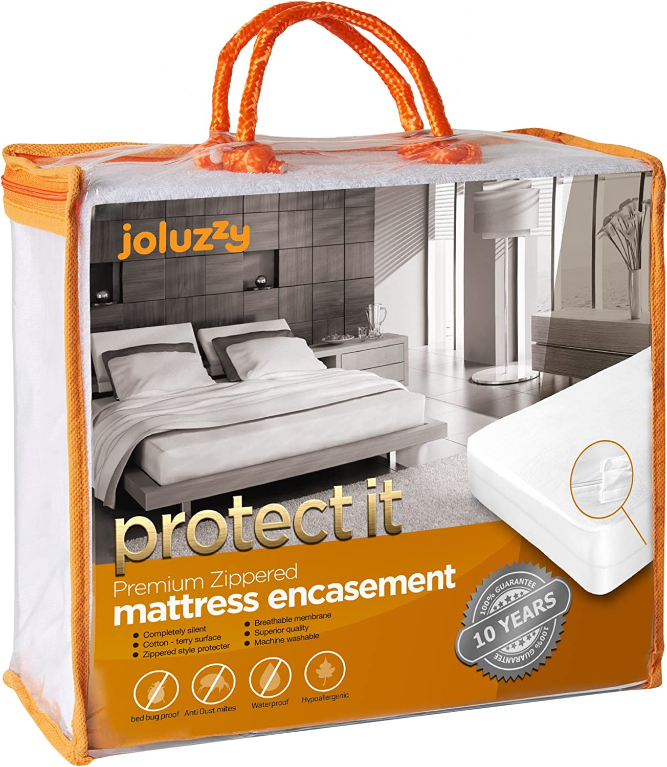 joluzzy Zippered Mattress Protector - 100% Bed Bug Proof/Waterproof Six-Sided Mattress Encasement - Cotton Terry, Breathable, Noiseless, Hypoallergenic, Vinyl-Free, Twin-XL Size