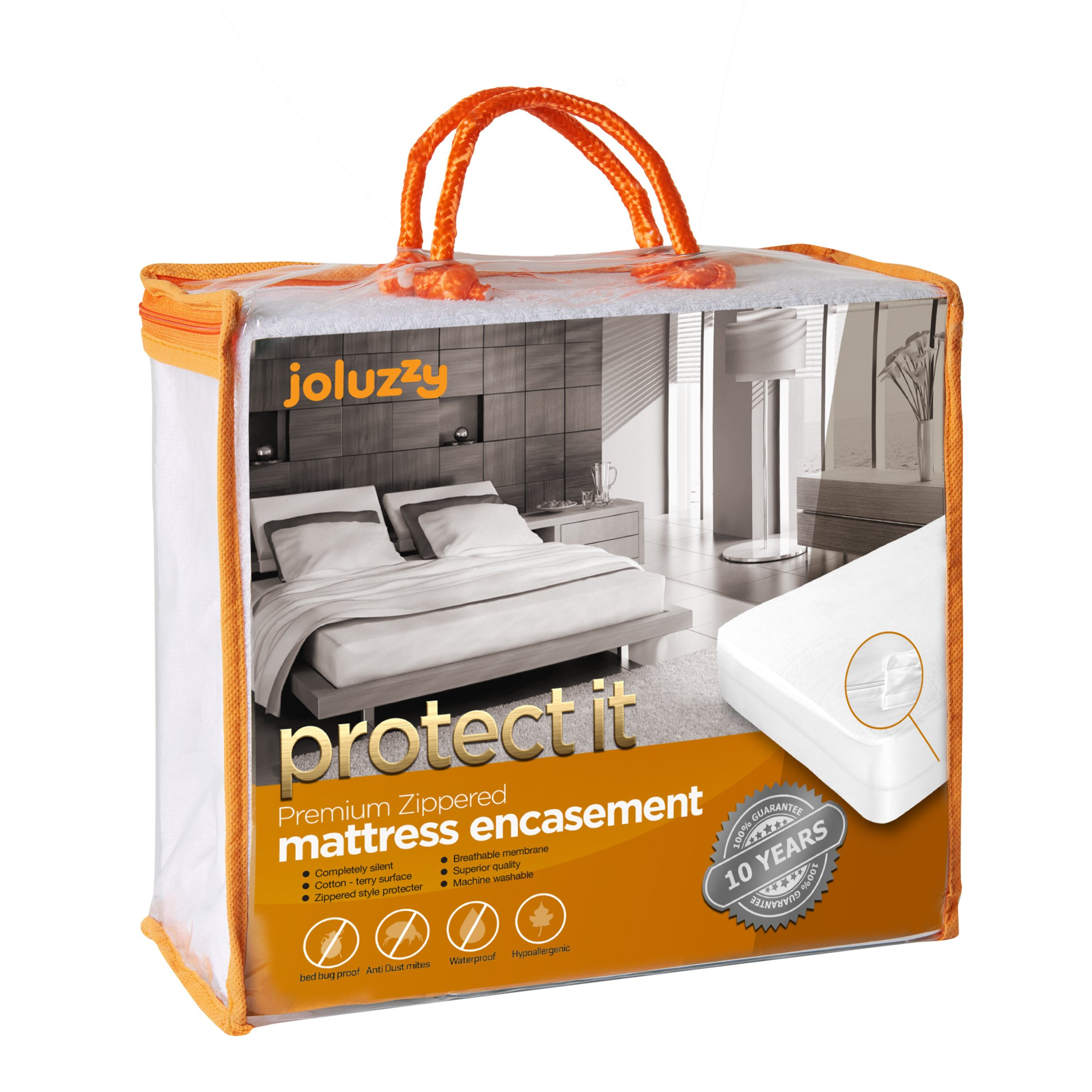 joluzzy Zippered Mattress Protector - 100% Bed Bug Proof/Waterproof Six-Sided Mattress Encasement - Cotton Terry, Breathable, Noiseless, Hypoallergenic, Vinyl-Free, Twin-XL Size by joluzzy (Image #1)