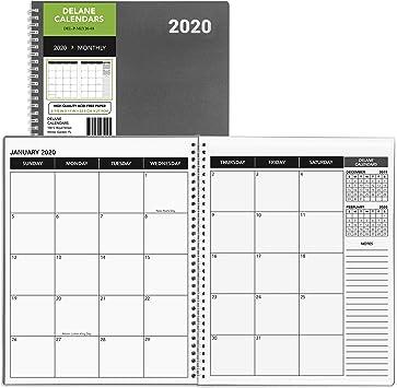 2020 Simple Black White Grey Desktop Calendar Paper Dual Daily Scheduler Planner