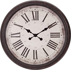"30"" Antique Bronze Baldaud Roman Numeral Wall Clock"