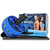 INSPIRE AB Roller Wheel, The perfect fitness workout wheel Ab Carver Pro roller for 6 Pack Abs & Core workout - Advanced Non-Slip Rubber, Extra Thick Knee Pad, Instructions & Comfortable Foam Grip Handles