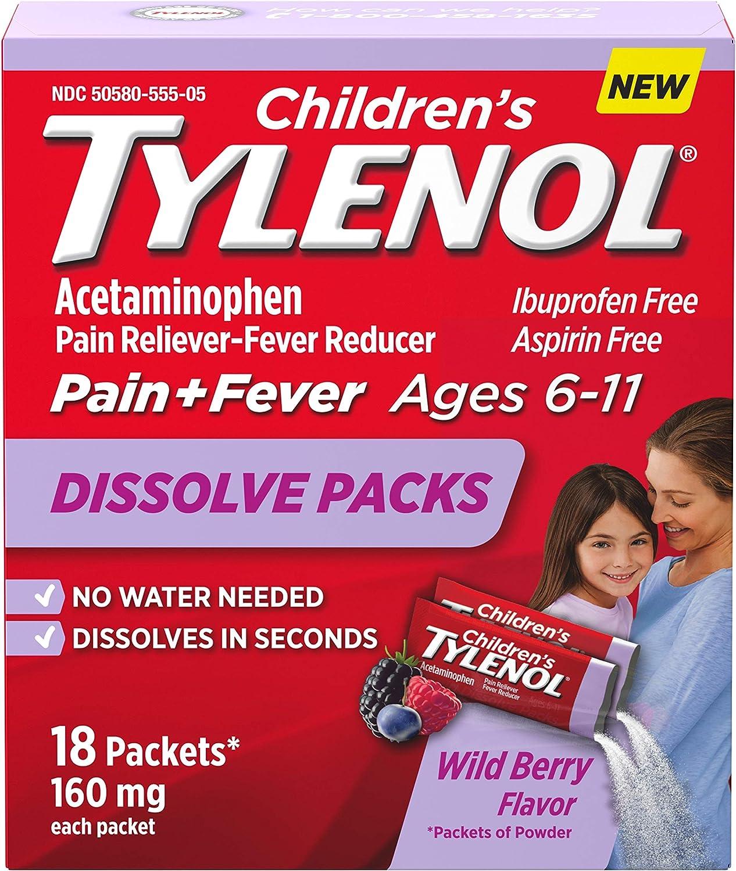 Children's Tylenol Dissolve Powder Packets with 160 mg Acetaminophen, Wild Berry, 18 ct