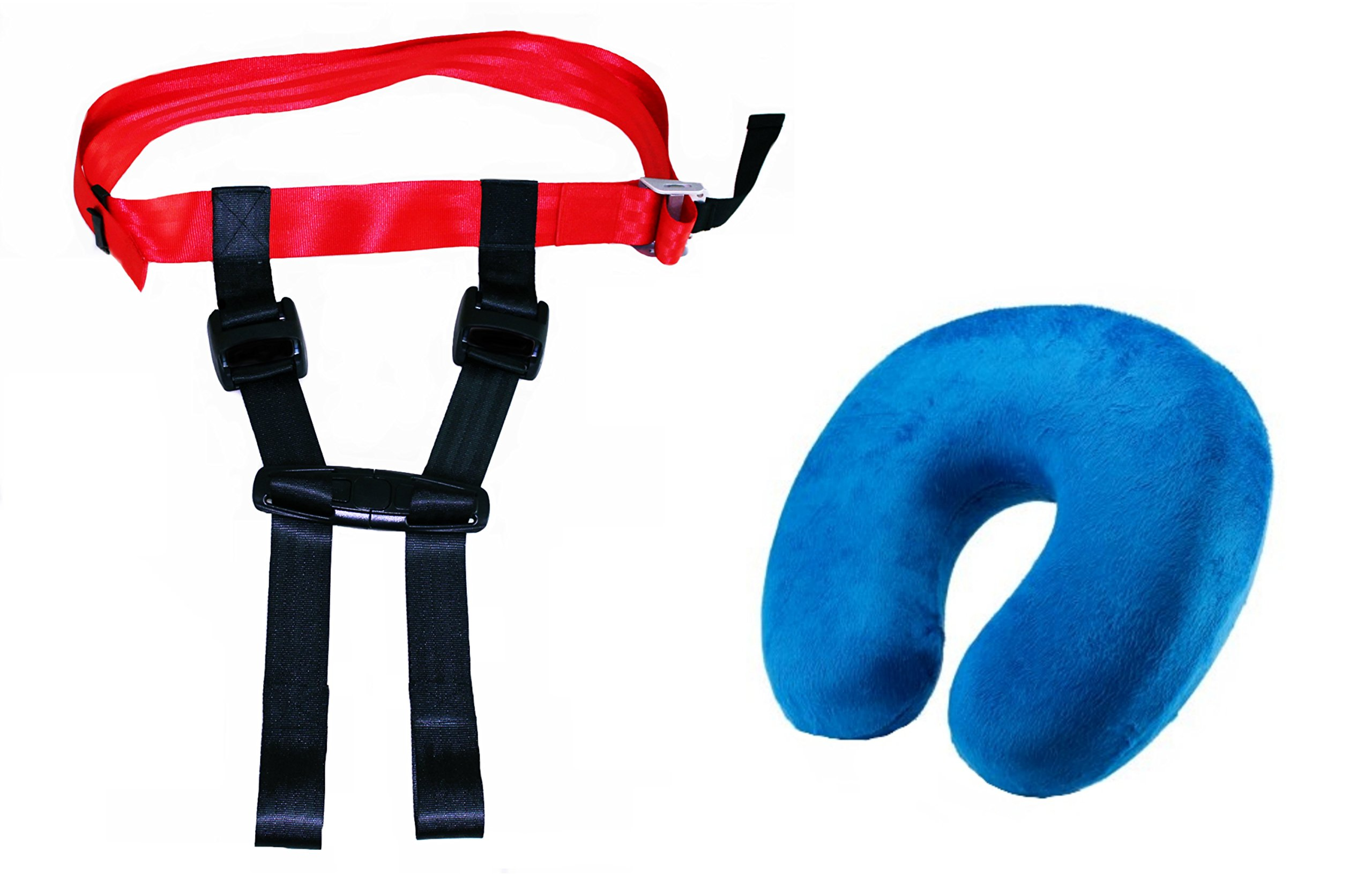 Thorium Safety Airplane Child Harness Strap Seat Belt Protector Complete with Comfortable Kids Travel Neck Pillow