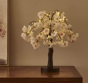 Hairui Lighted Cherry Blossom Tree Battery Operated 18IN 40 Warm White LEDs Artifical Bonsai Tree with Lights USB Plug for Wedding Party Easter Summer Festival Home Decoration