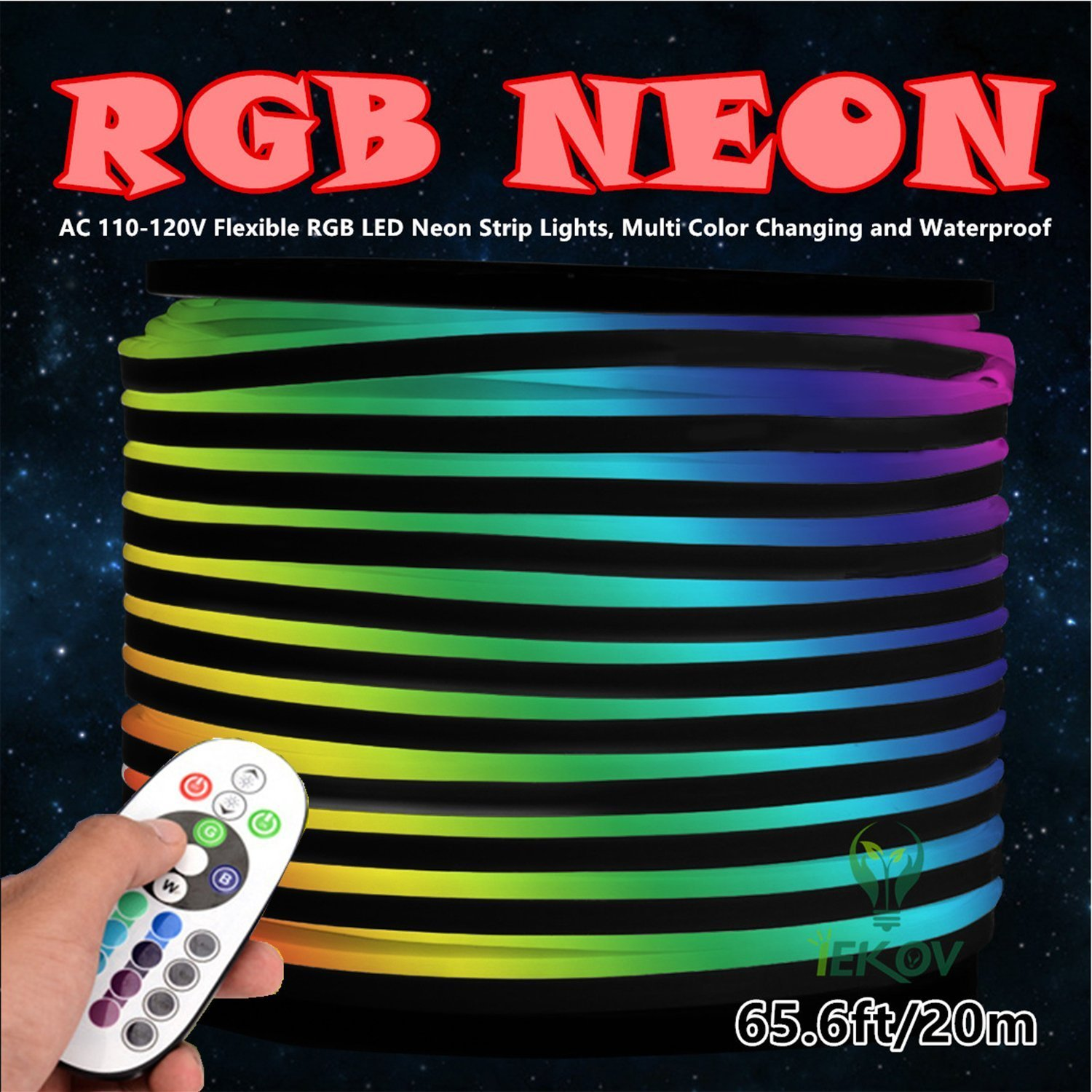 LED NEON LIGHT, IEKOV AC 110-120V Flexible RGB LED Neon Light Strip, 60 LEDs/M, Waterproof, Multi Color Changing 5050 SMD LED Rope Light + Remote Controller for Party Decoration (65.6ft/ 20m) by IEKOV (Image #3)