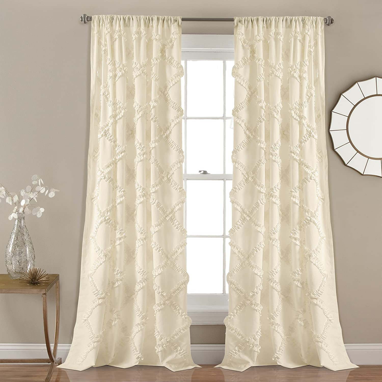 "Lush Decor, Ivory Ruffle Diamond Curtains Textured Window Panel Set for Living, Dining Room, Bedroom (Pair), 84"" x 54, 84"" x 54"", 2 Count"