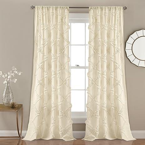 Lush Decor Lush Décor Ruffle Diamond Window Curtain Panel Pair, 84u0026quot; X  54u0026quot;