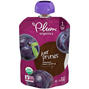 Plum Organics Stage 1 Organic Baby Food, Prunes, 3.5 Oz Pouch, Pack of 6