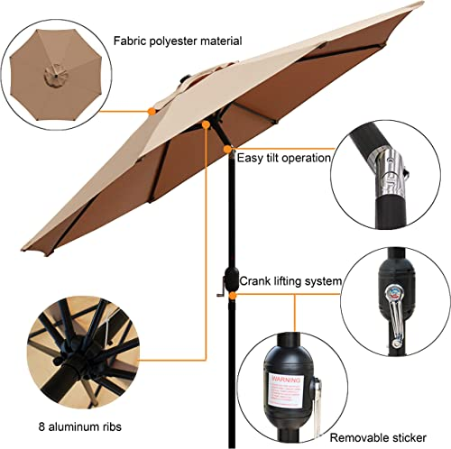 Blissun 9 Outdoor Market Patio Umbrella with Push Button Tilt and Crank, 8 Ribs Tan
