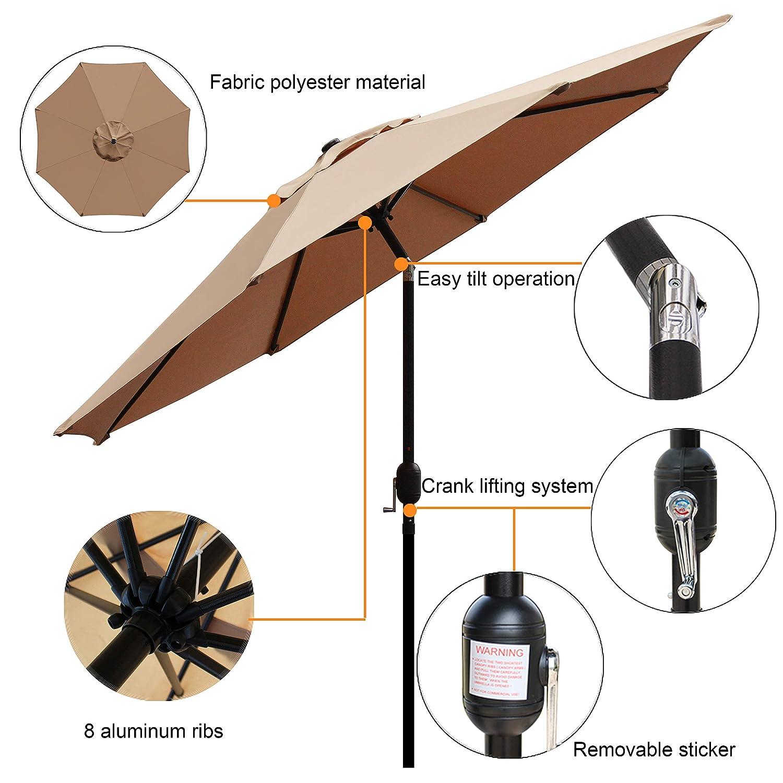 Blissun 9 Outdoor Market Patio Umbrella with Push Button Tilt and Crank, 8 Ribs Tan