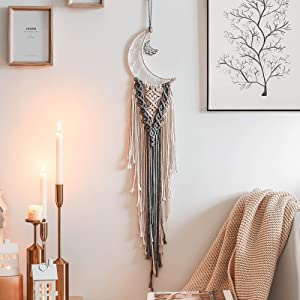 JOBOSI Dreamcatcher Moon Gray, Room Decor, Boho Decor, Wall Decor, Gifts for Girl, Bohemian Decor, Gifts for Friends, Birthday Day Gifts