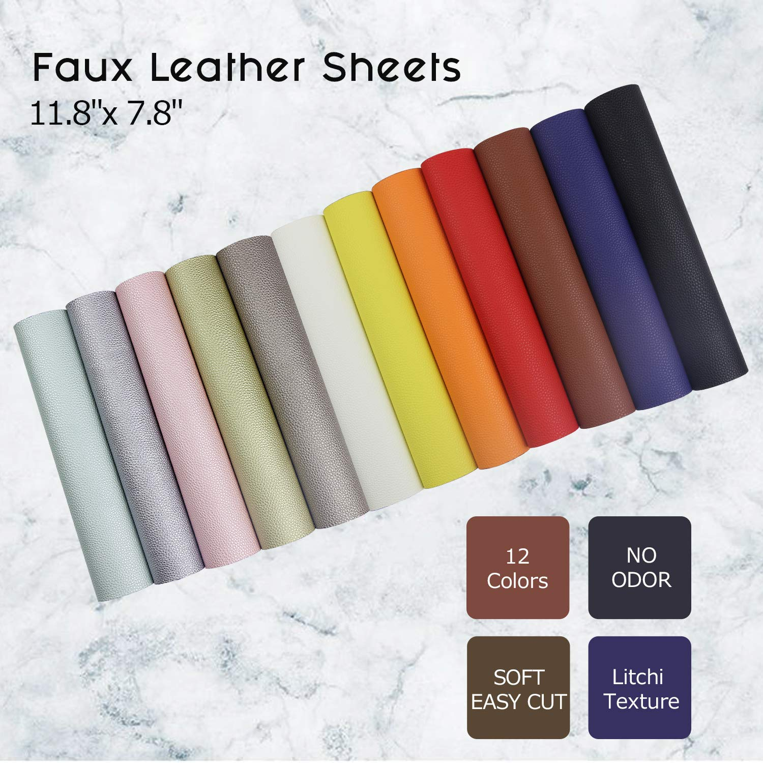 Litchi Faux Leather Sheets, SIMPZIA NO Odor 11.8'' x 7.8'' PU Synthetic Leather Cotton Backed, 1.2mm Easy Cut Fabric Leather with 12PCS Pearlized and Solid Colors for Earrings, DIY Craft Projects by SIMPZIA (Image #4)