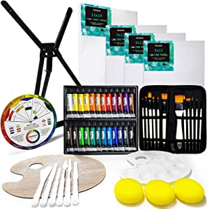 MEEDEN 53-Piece Acrylic Painting Set with Aluminum Table Easel, 24 Acrylic Paints, Stretched Canvas, Paint Brushes & Plastic Palette, Great Gift for Kids & Beginner Artist