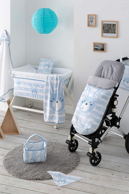 Arrullo para beb/é estampado punto de algod/ón 80 x 80 cm COELLO ROSA