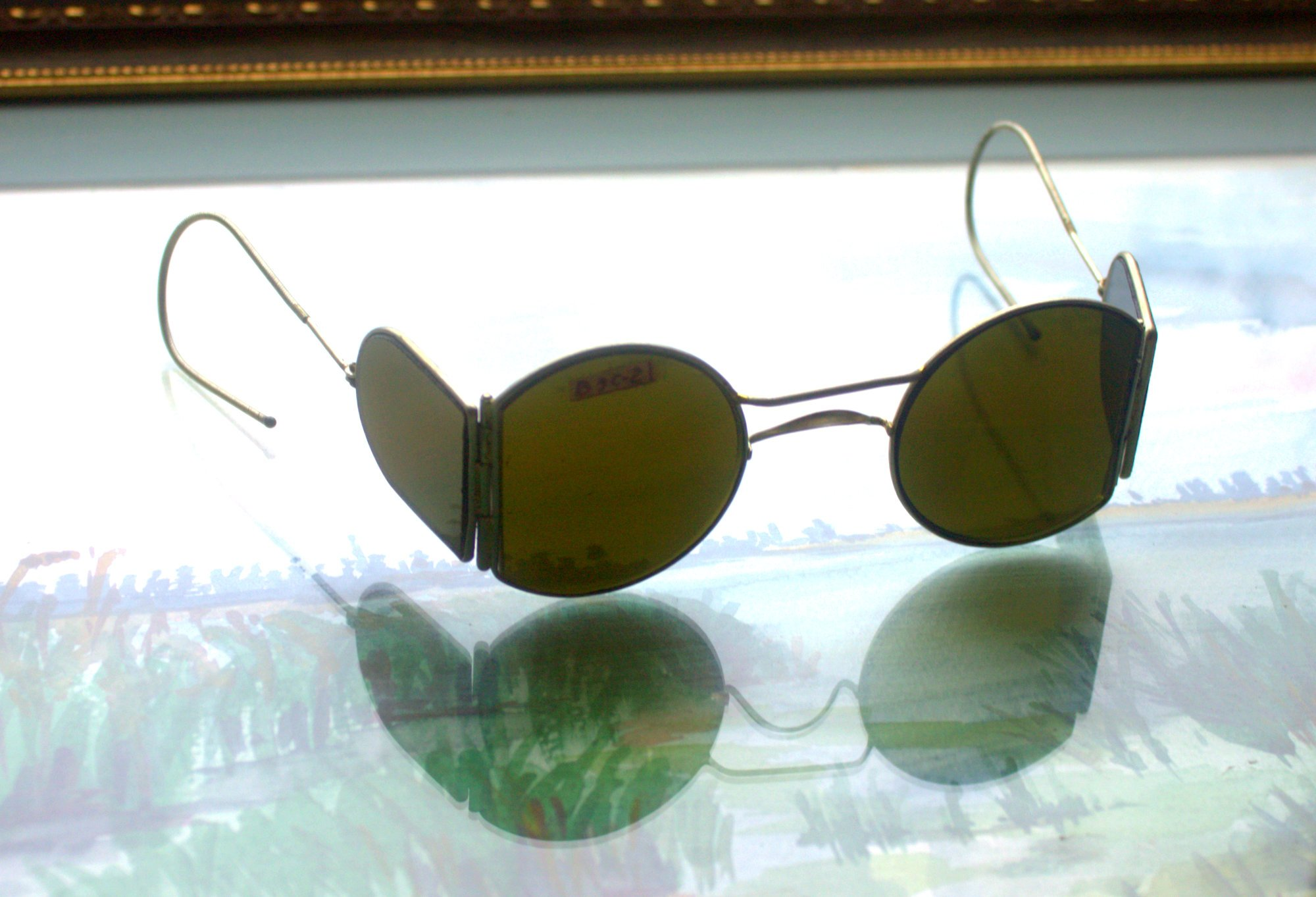 CHRISTMAS GIFT 1930s New Steampunk sunglasses with side shields New Vintage sunglasses WW2 USSR Green glass lenses by Rushnichok
