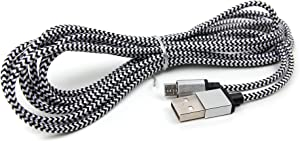 DURAGADGET Silver Nylon Braided 3M Micro USB Data Sync Cable - Compatible with Vaux Cordless Home Speaker