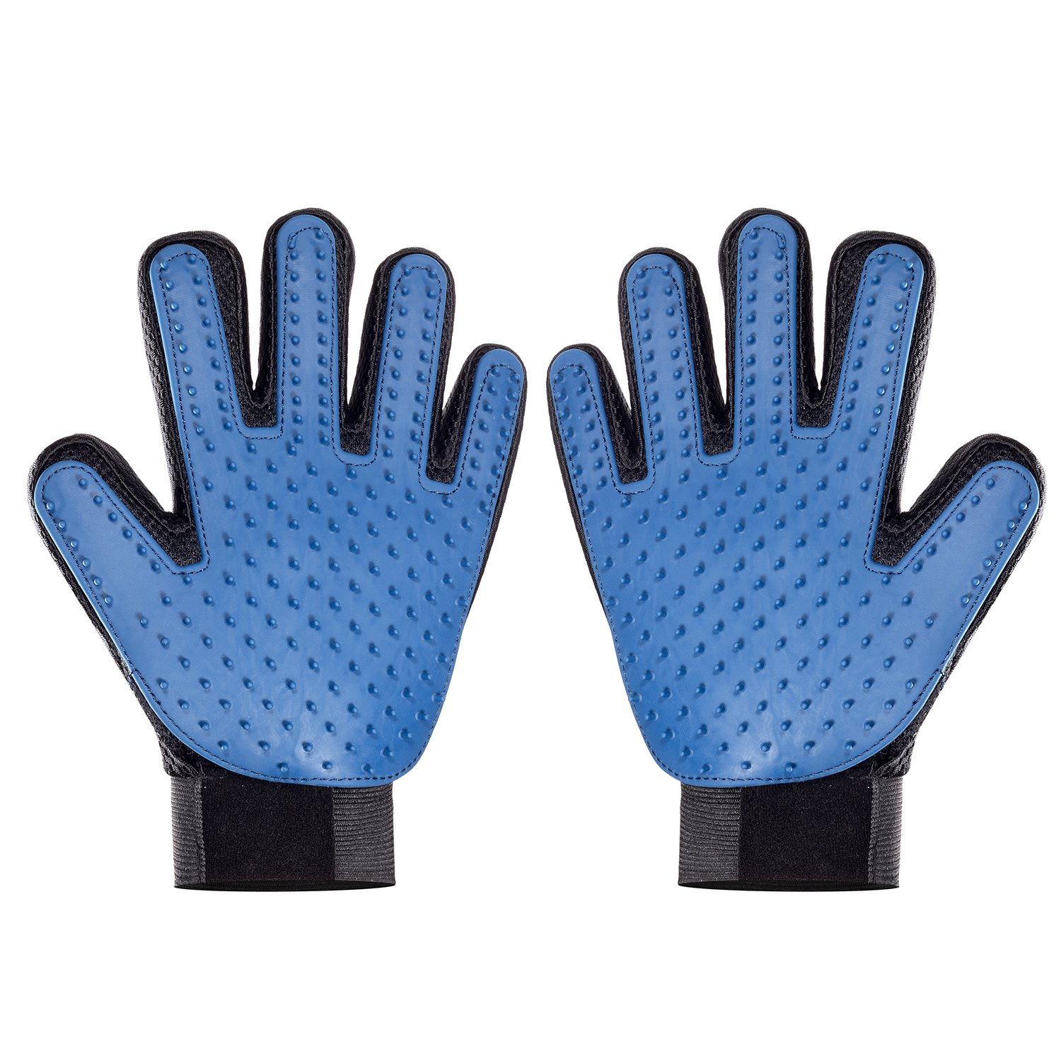 Pet Grooming Glove, Bath Brush and Massage Efficient Dog Hair Remover Mitt Cat Gentle Deshedding Brush Glove, Gentle Massaging Tool with Enhanced Five Finger Design, Perfect for Pets, Blue, 1 Pair