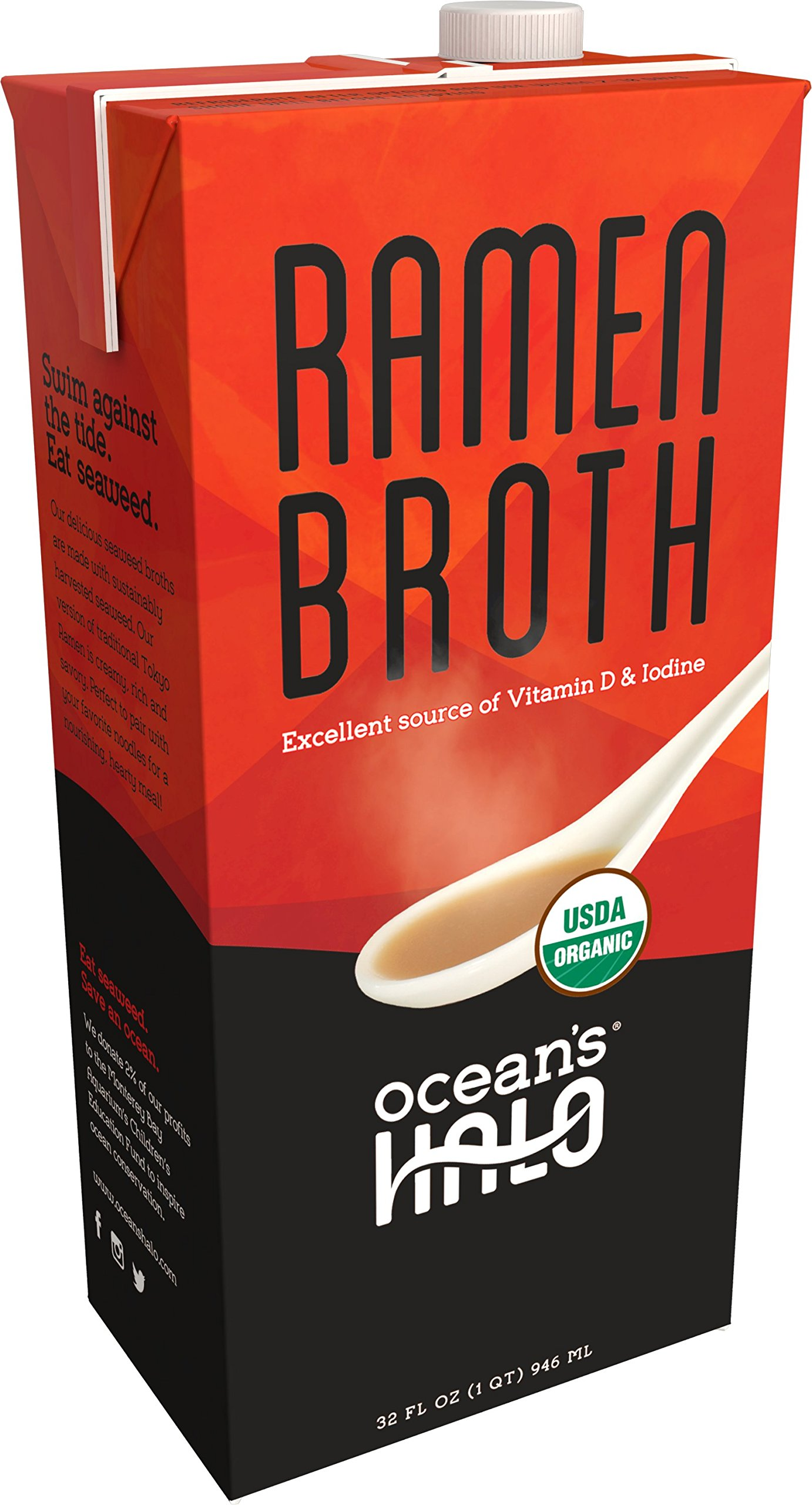 2 Units of Organic Ramen Broth by Ocean's Halo. This delicious kelp-based broth is inspired from Tokyo-style Tonkotsu, and is loaded with authentic flavors as well as vitamins, minerals and protein.