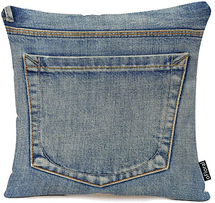 oFloral Square Throw Pillow Cover Blue Country Empty Back Pocket of Jeans Denim Western Home Decor Pillow Case 18x18 Inches Cotton Linen Pillowcase