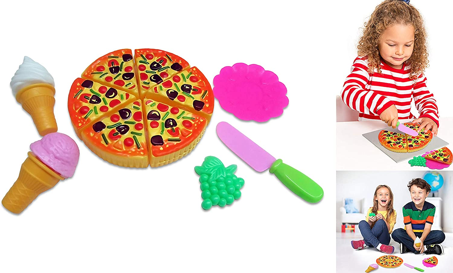 Toy Cubby Kids Toddler Pretend Play Pizza Party Cutting Food and Accessories Set
