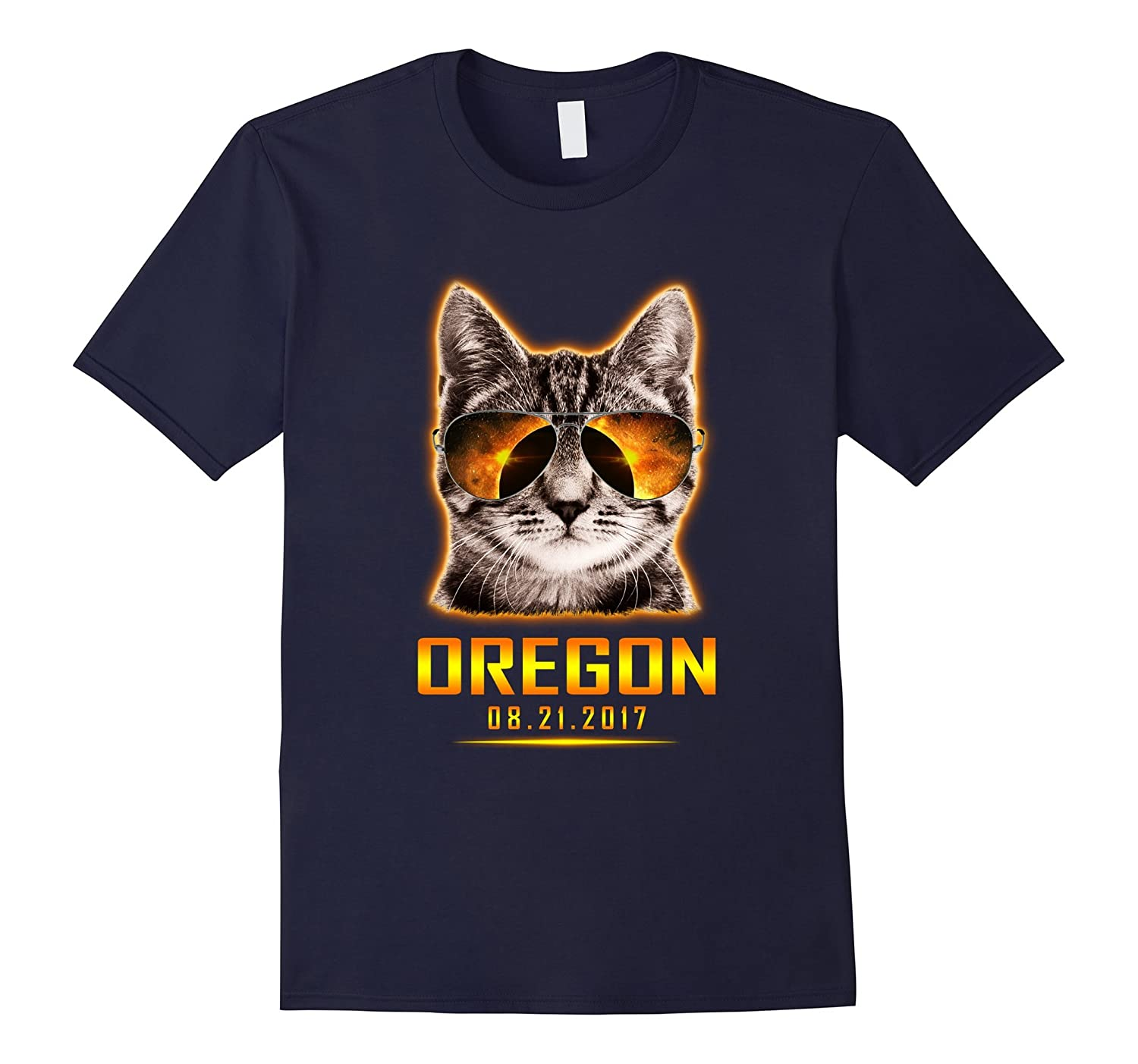 Cat Is Watching Oregon Total Solar Eclipse 2017 T-shirt-BN