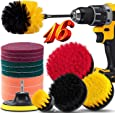16 Piece Drill Brush Attachment Set, BRITOR Drill Brush Set Power Scrubber with Extend Long Attachment, Scrub Pads & Sponge, Buffing Pads, Car Polishing Pad Kit for Bathtub Scrubber Cleaning