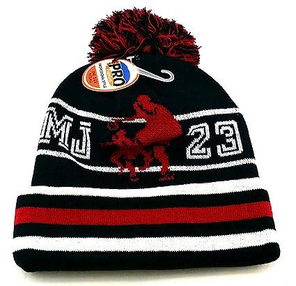 Amazon.com  GREATEST PRODUCTS Chicago New Legend MJ Dribbler 23 Jordan  Bulls Black Red White Beanie Pom Cuff Era Hat Cap  Sports   Outdoors 566afcc5e535