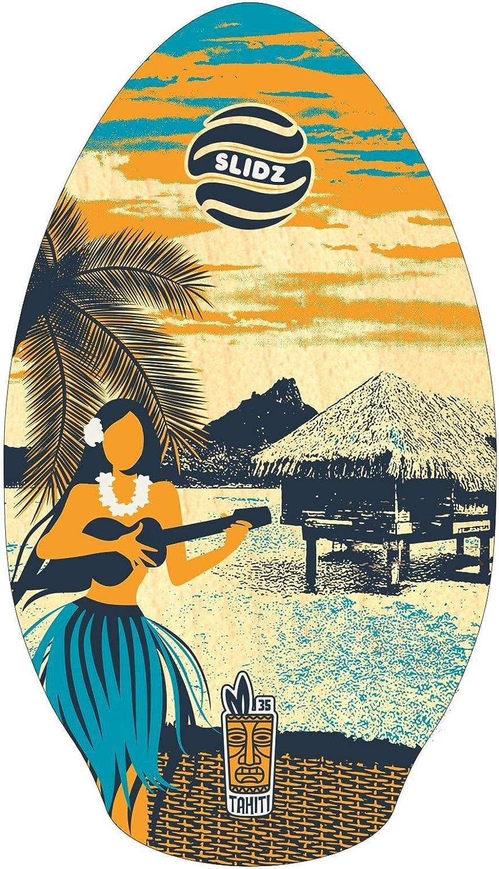 Tabla de Skimboard 35 x 90 cm Color Azul y Naranja SLIDZ Tahiti