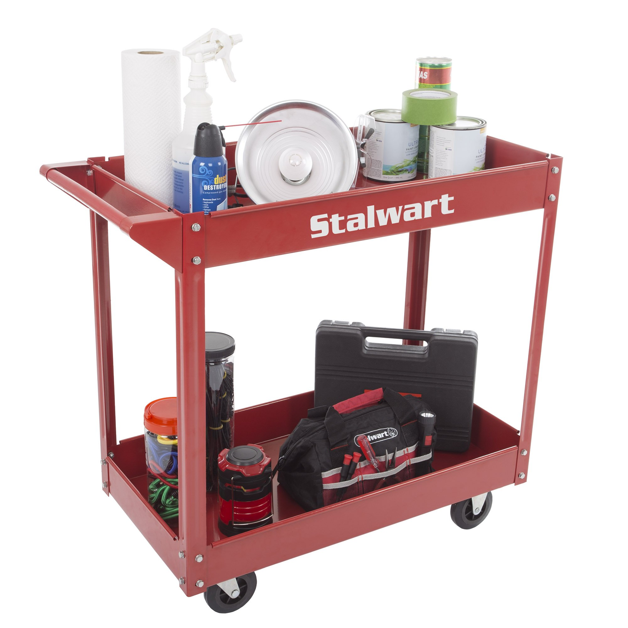 Metal Service Utility Cart, Heavy Duty Supply Cart with Two Storage Tray Shelves- 330 lbs Capacity By Stalwart (Red) by Stalwart (Image #2)
