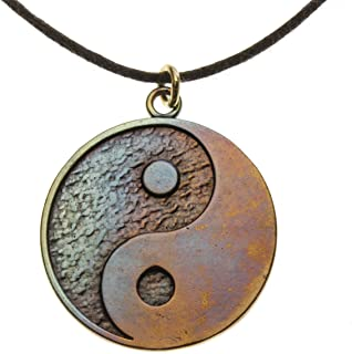 product image for From War to Peace Yin Yang Symbol in Iridescent Finish on Adjustable Natural Fiber Cord