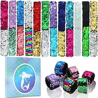 YIQIHAI 18pcs Mermaid Slap Bracelets 2 Colors Magic Flip Sequins Reversible Bracelets Charms Wristband for Mermaid Birthday Great Birthday Party Favors for Girls, Goodie Bag Fillers: Toys & Games