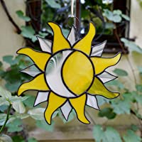 SUNFLOWER YELLOW PEACE DOVE Stained Glass Art HAND MADE CHRISTMAS LIGHT CATCHER