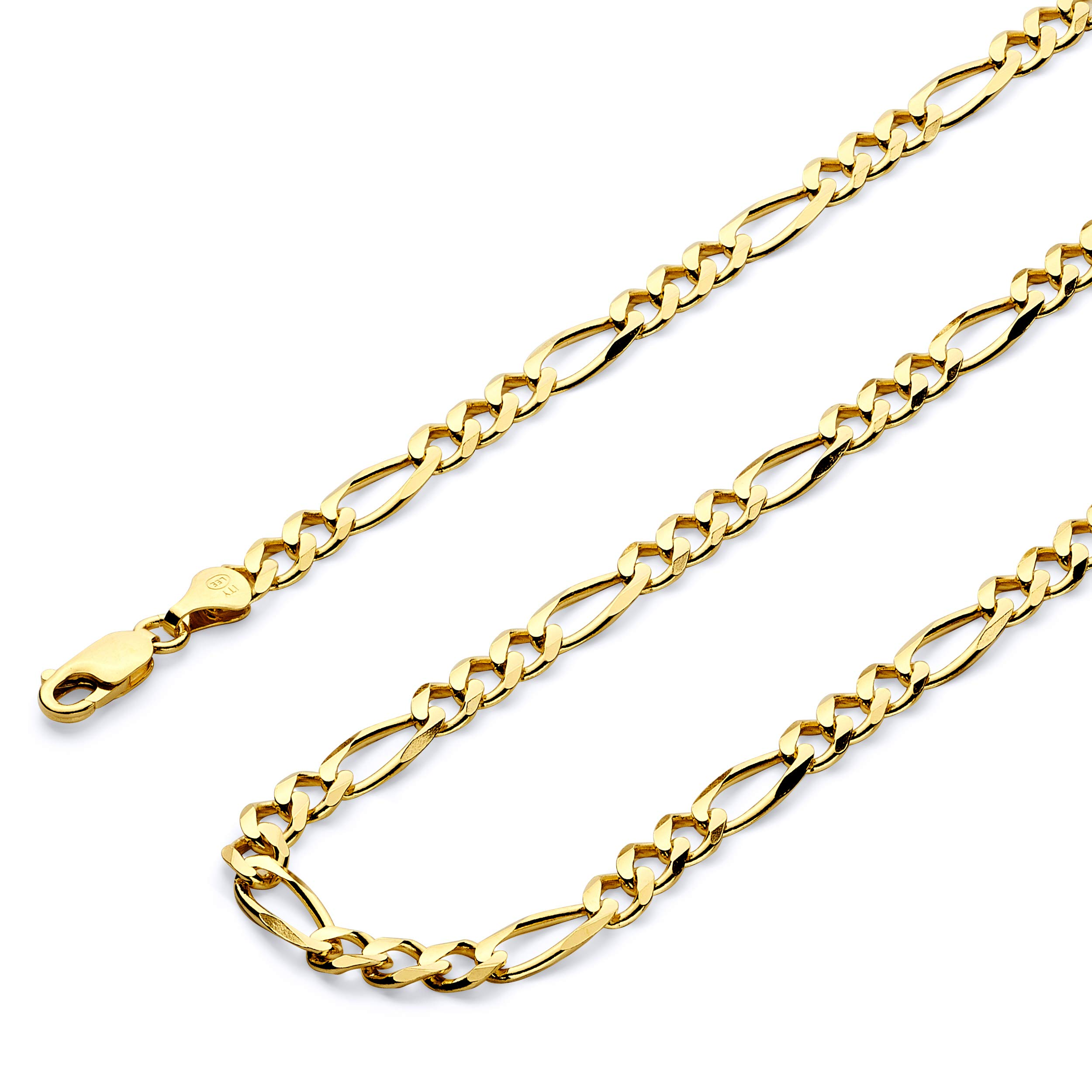 Wellingsale 14k Yellow Gold SOLID 6mm Polished Figaro 3+1 Concave Chain Necklace - 26''