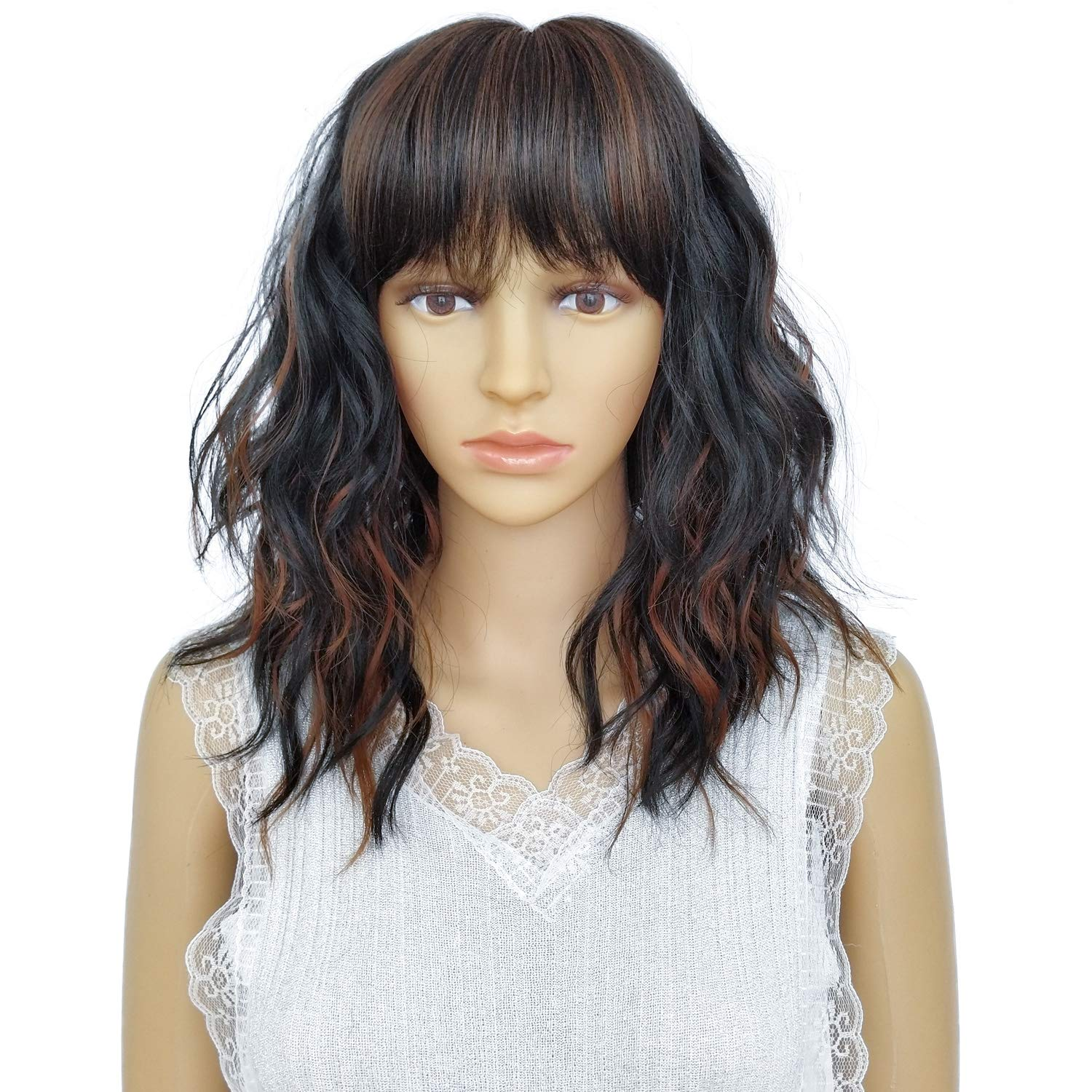 TANRAIN Wig female Short, Short big wave Synthetic wigs Natural lifelike Heat-resistant man-made fibre Party costume party All code A variety of colors are available wig for women (Dark Black mix Brown)