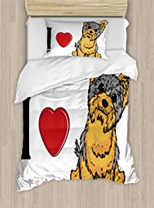 Ambesonne Yorkie Duvet Cover Set, I Love Yorkshire Terrier Dog Smiling Animal Tilted Head Love Print, Decorative 2 Piece Bedding Set with 1 Pillow Sham, Twin Size, Marigold Grey