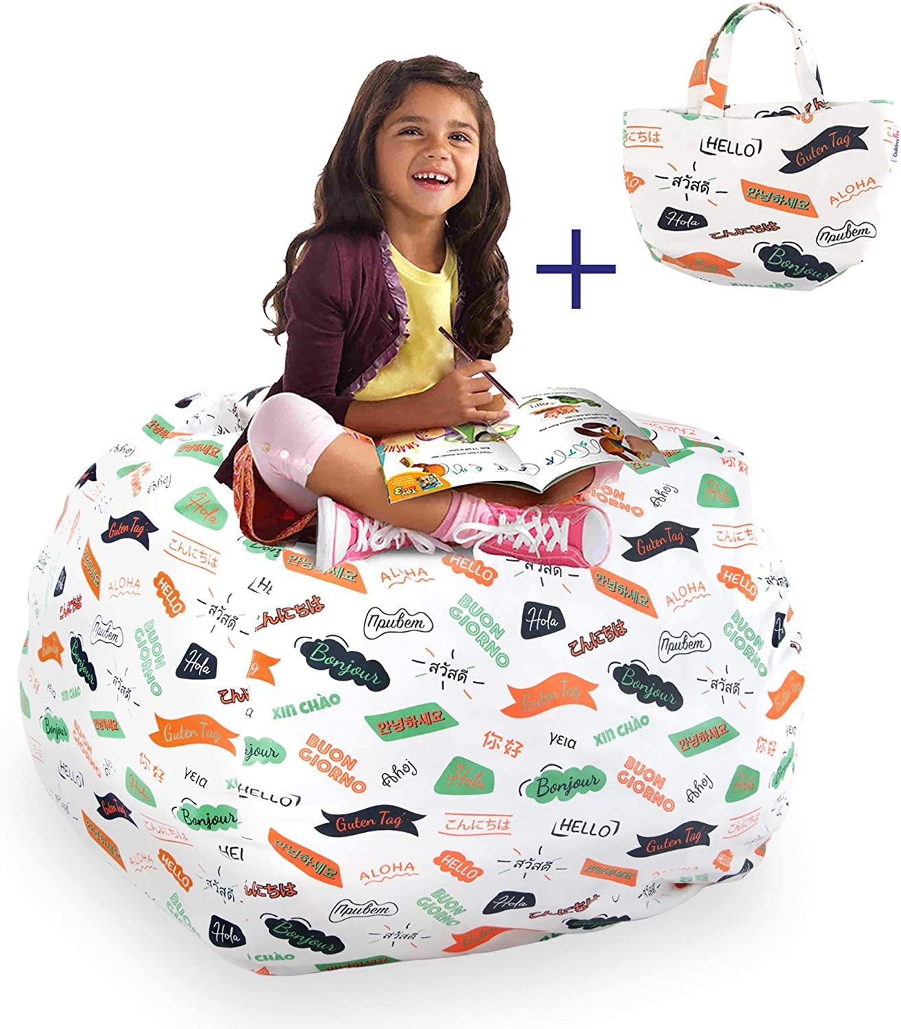 Large Bean Bag Storage Stuffed Animal Chair For Kids Toys Stuff Sit Canvas NEW