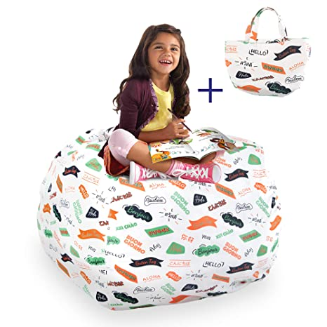 Magnificent Guildreytex Stuffed Animal Bean Bag Chair Cover 100 Cotton Thick Canvas 38 Inch Large Storage Bag For Organising Kids Room Cover Only Pattern In Ibusinesslaw Wood Chair Design Ideas Ibusinesslaworg
