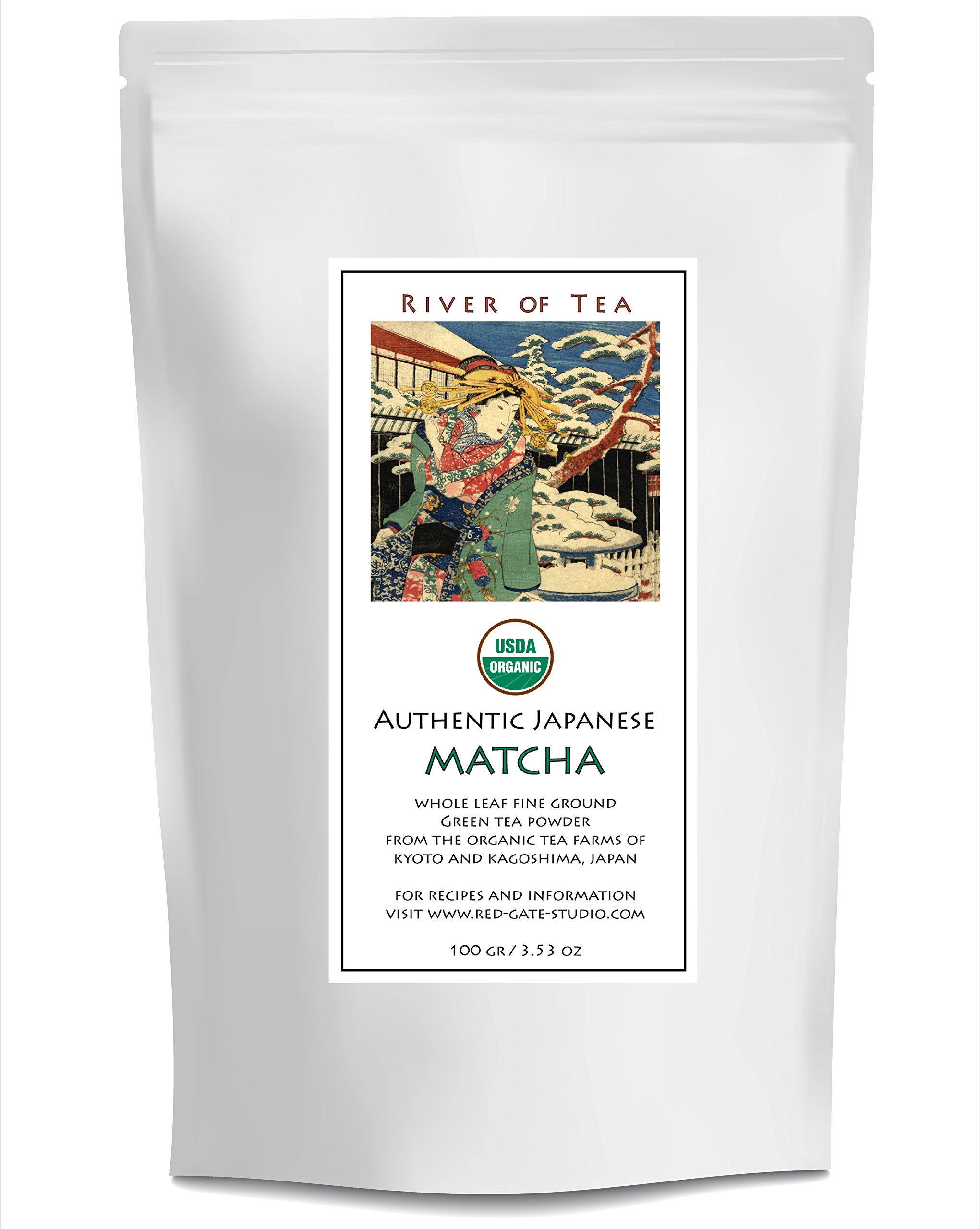 River of Tea Premium Matcha Powder | Authentic Japanese Matcha - Pure Culinary Grade from the Organic Farms of Kyoto and Kagoshima. Create the Perfect Matcha Dessert or Healthy Treat -100g (3.53 oz) by River of Tea
