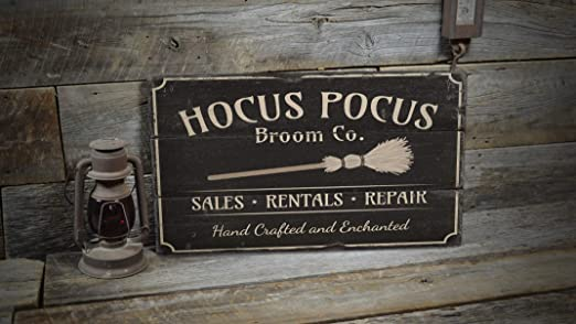Wi33bbon Hocus Pocus Sign Broom Company - Cartel Decorativo ...