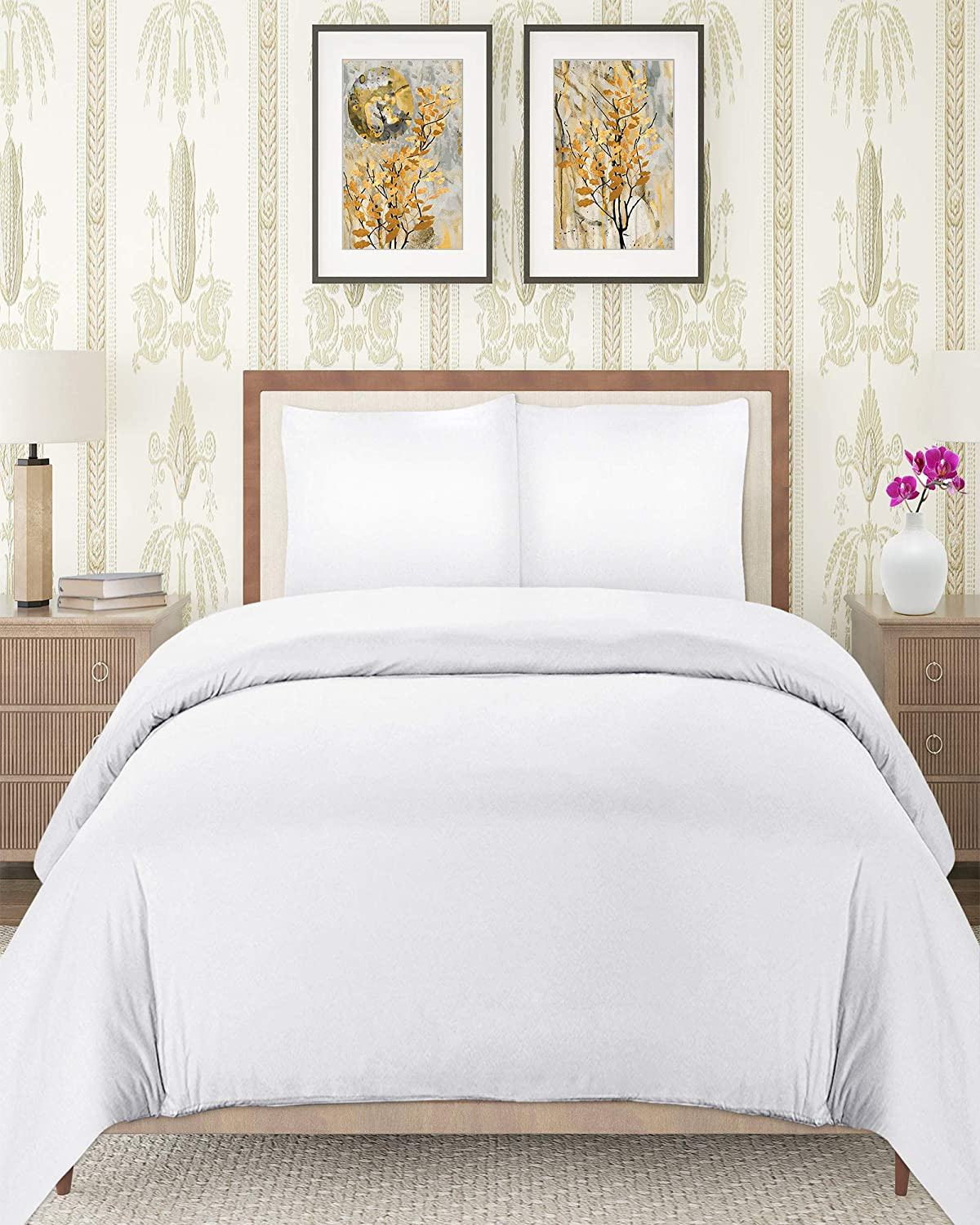 Utopia Bedding 3 Piece Queen Duvet Cover Set with 2 Pillow Shams, (Queen White)