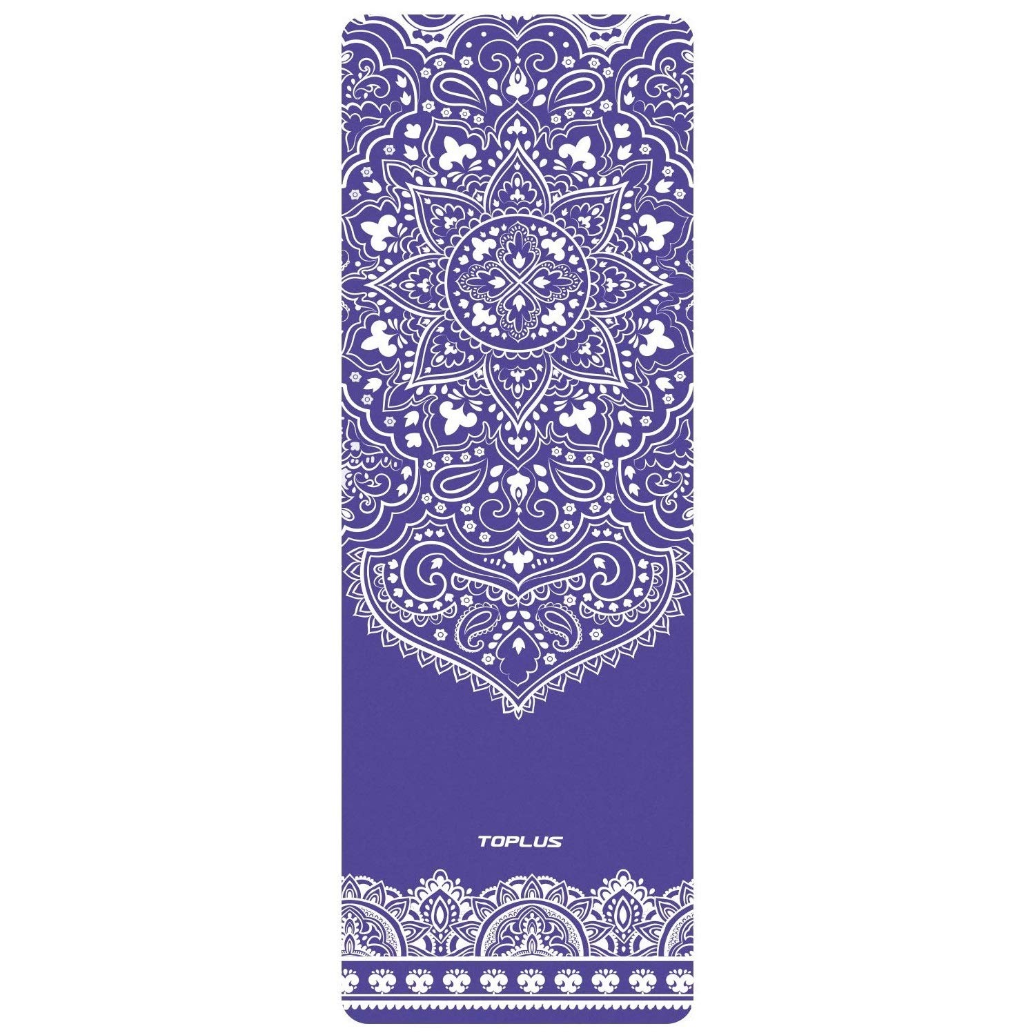 TOPLUS Yoga Mat - Luxury Designer Cooperated - Hot Yoga Mat - Sweat Absorbent Non Slip, Natural Suede Exercise & Fitness Mat for Yoga, Pilates and Floor Exercises, Coming with Gift Box (Blue)