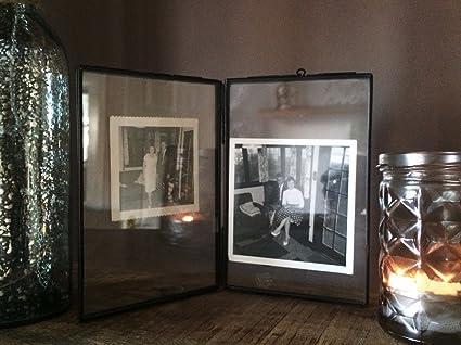 Marco de fotos de doble cara titular de vidrio y metal imagen independiente estilo antiguo (