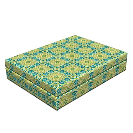 Amazon com : Lunarable Blue Green Dog Bed, Hand Drawn Style