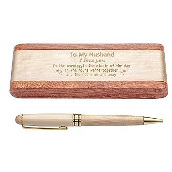 Estuche para bolígrafos de madera grabada, bolígrafo de firma ...